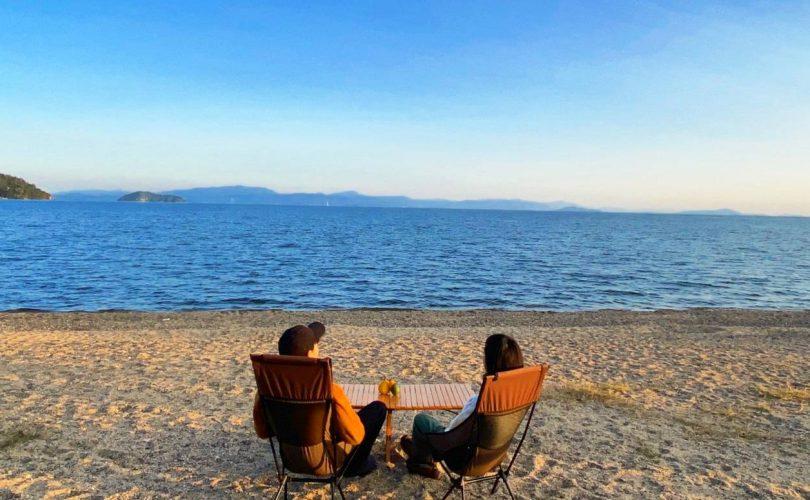琵琶湖畔でキャンプがてら、初めてのエリアトラウトレポート✨