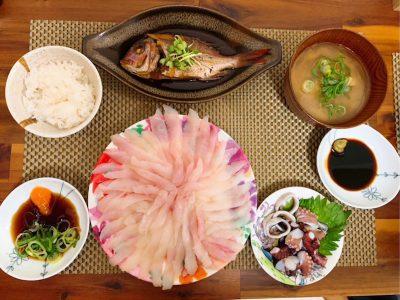 メバル、鯛、タコ、カサゴの料理